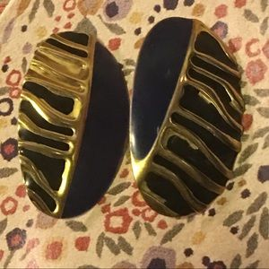 VINTAGE earrings painted pressed metal